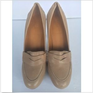 J Crew Taupe Nude Biella Penny Loafer High Heel.